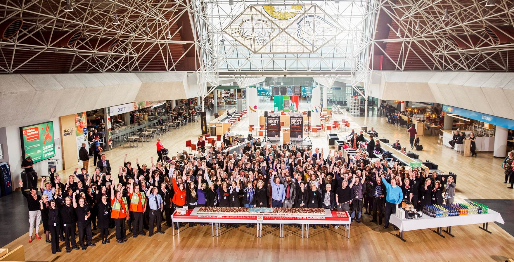 Airport Staff celebrate the induction of Keflavik International with the best in the world
